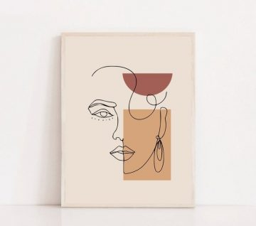 Face Drawing Sketch Art Woman In A Fashion Line Printable Beauty Minimalist Illustration Pr...