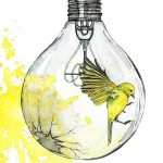 Painting In Watercolor, Light Bulb Painting, Watercolor Print, Bird, Spatter Painting, Light Bulb Art,