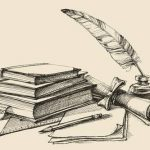 Stack of books, paper, pencil, parchment, quill and ink. Diploma,..