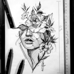 A beautiful line art portrait, flower, Leandro Amaral tattoo decoration...