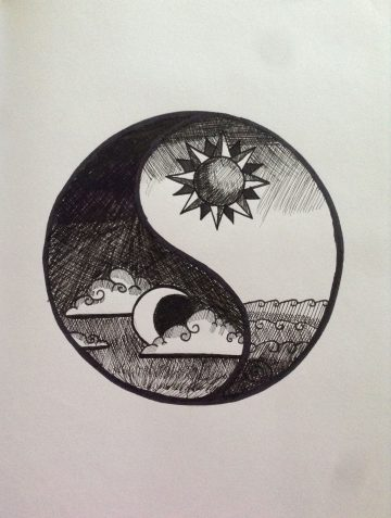 October 2013/ Pen Drawing/ Yin Yang made of black fineliners. The sun and the Moon re...