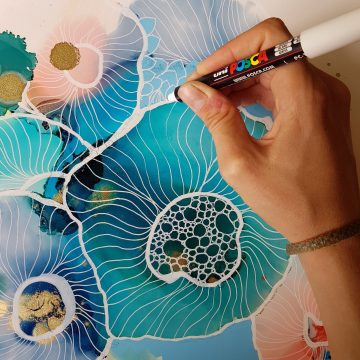 Of the commission of a unique piece of art for your home. Alcohol ink coral sea illustrati...