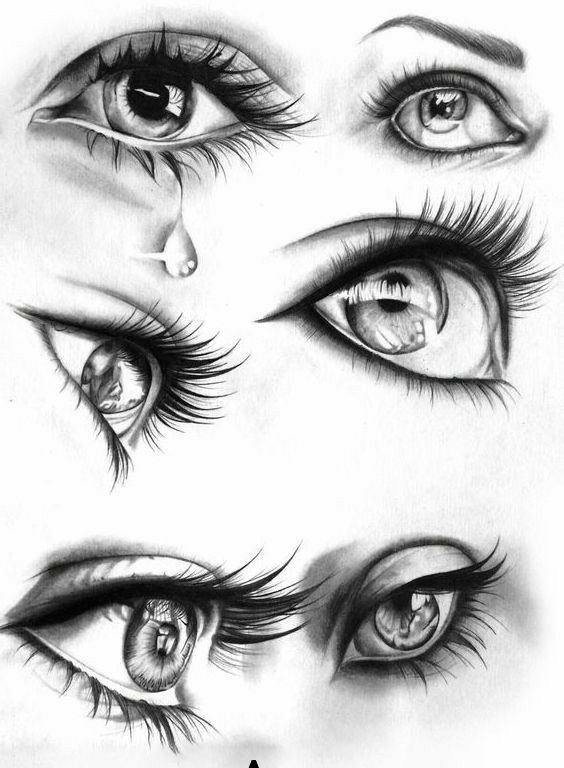 Pencil drawing step-by-step the eyes of the drawings (realistic and colors...