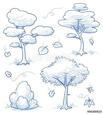 Vecteur : Set of cute cartoon of trees, shrub, forest, with the falling leaves of autumn. Ja...