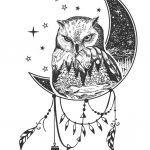 Vector boho owl tattoo or a t-shirt print design. Owl on the moon combined wi...