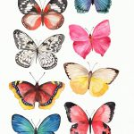 Watercolor Butterfly clipart, Butterfly PNG, crown, png, wedding, baby shower, ...